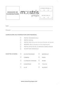Dossier de candidature Maestris Beauté Valence